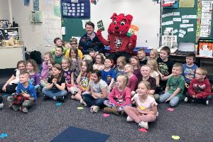 Binghamton Devils mascot with GMU first-graders (2/2020)