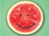Watermelon with seeds (smiling)