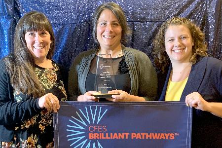 Raquel Norton, Annette Hammond, Heather Wilcox with CFES banner 2019