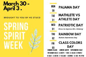 Spring Spirit Week flyer (3/2020)
