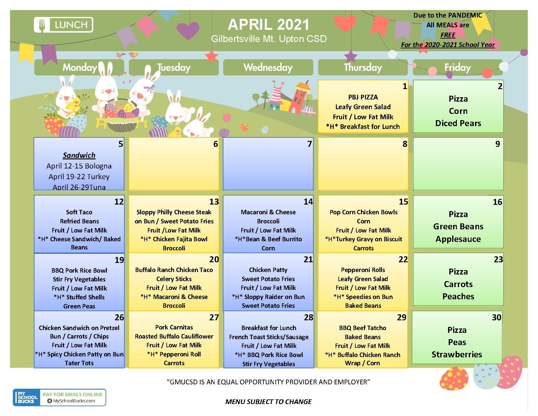 Lunch Menu - April 2021