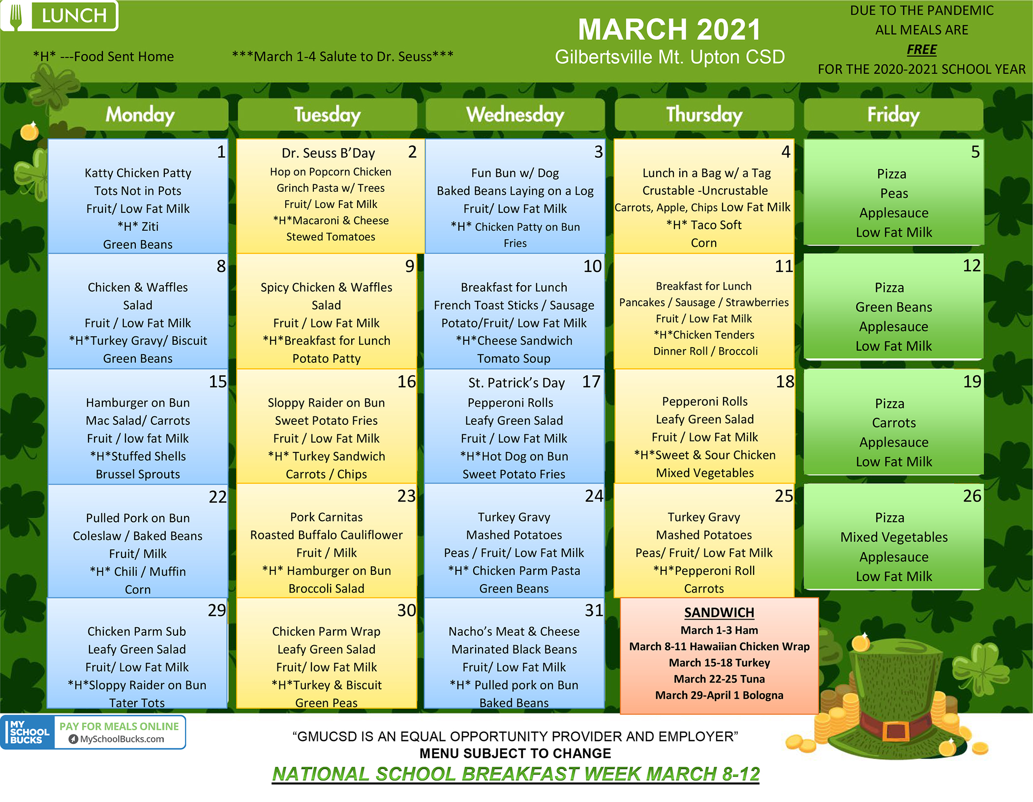 GMU Lunch Menu - March 2021