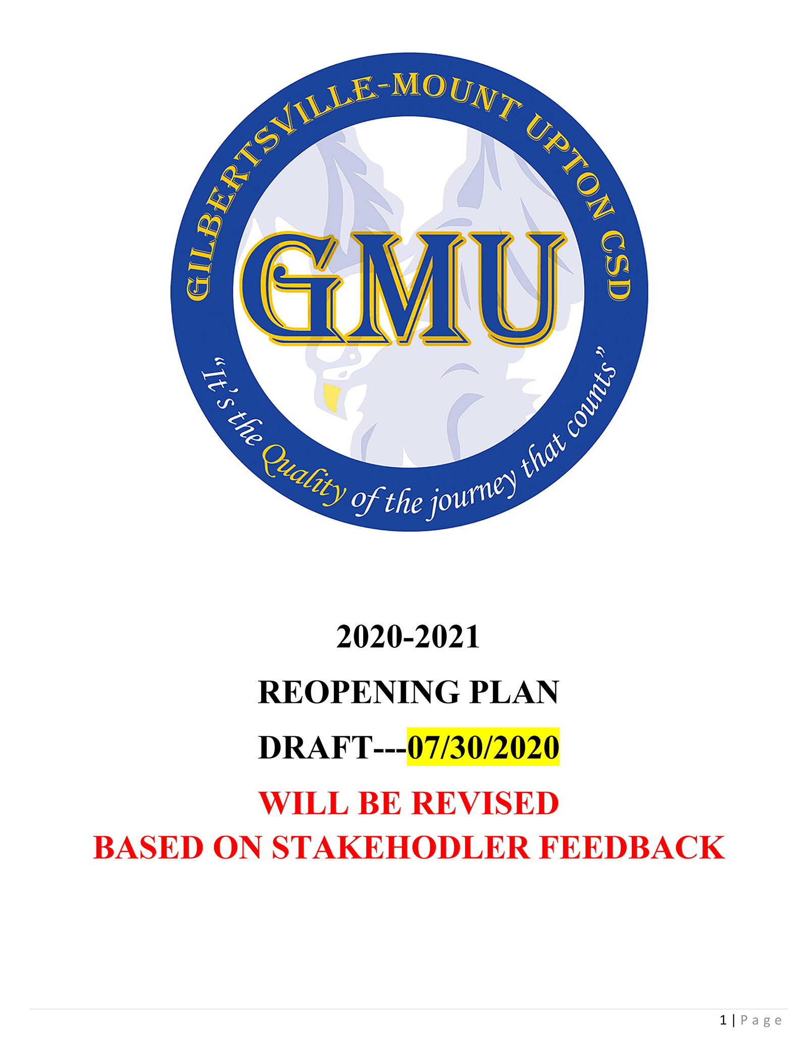 GMU Reopening Plan 2020-2021 Cover Pic (7/30/2020)
