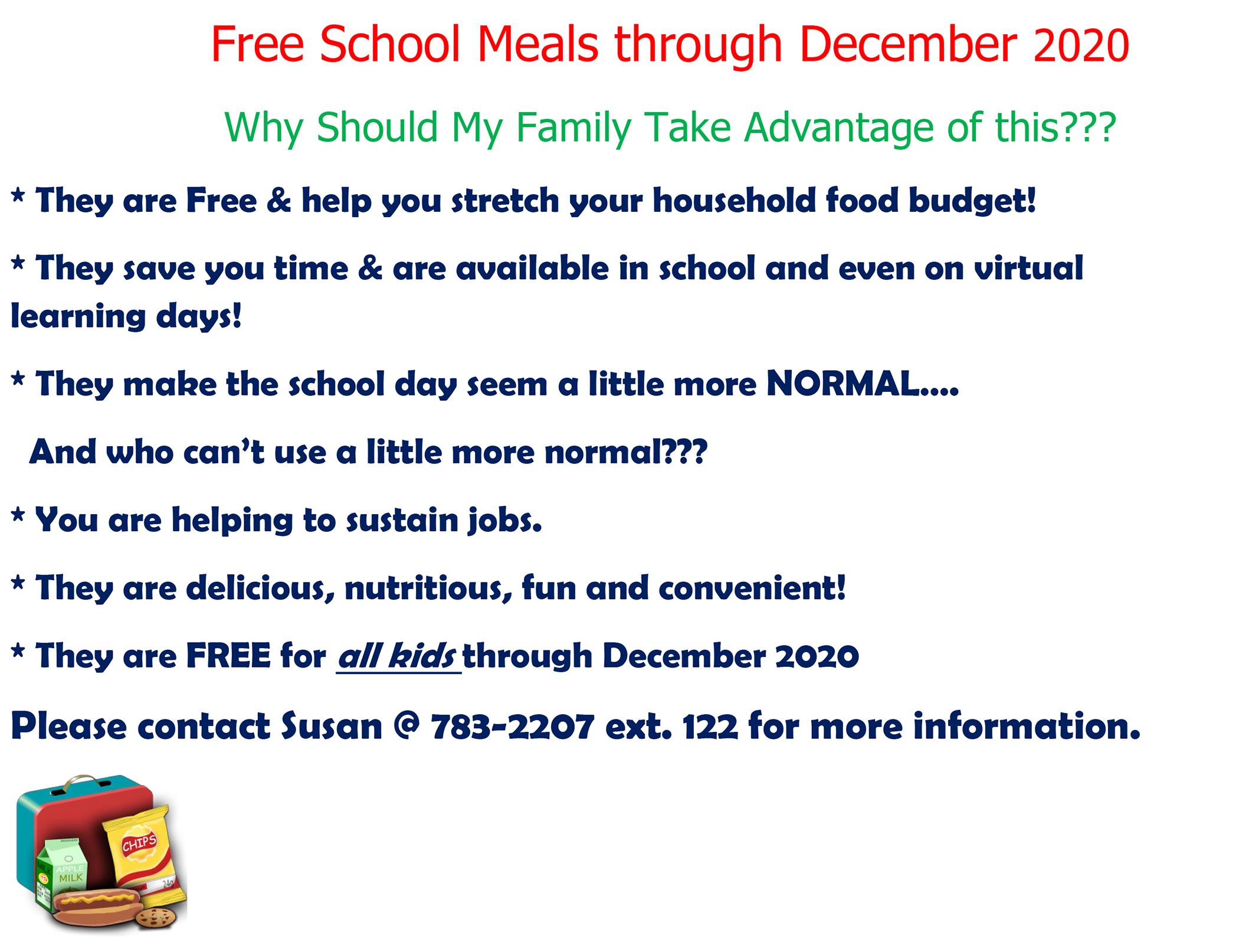 Free School Meals Through December 2020 Flyer