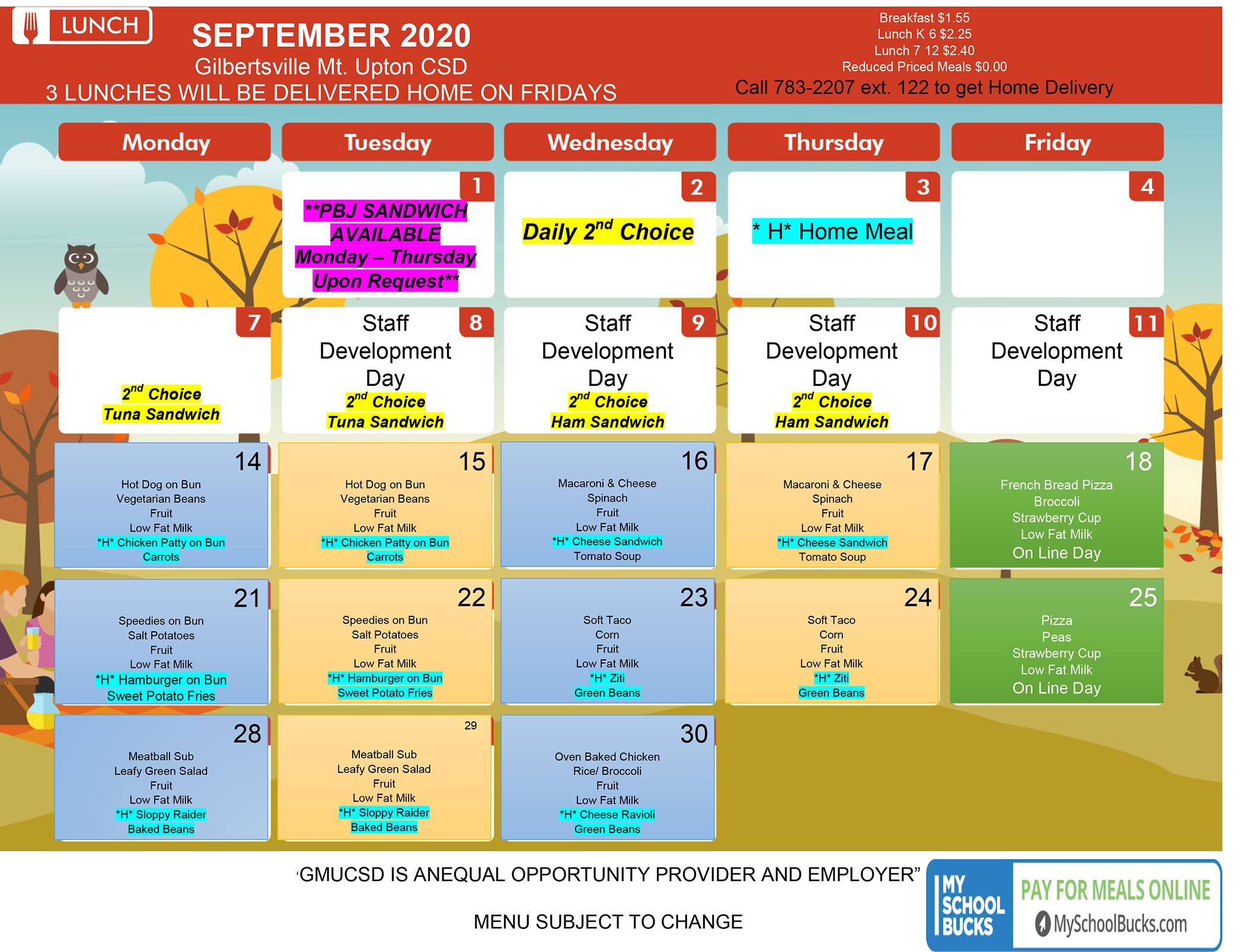 GMU Menu September 2020