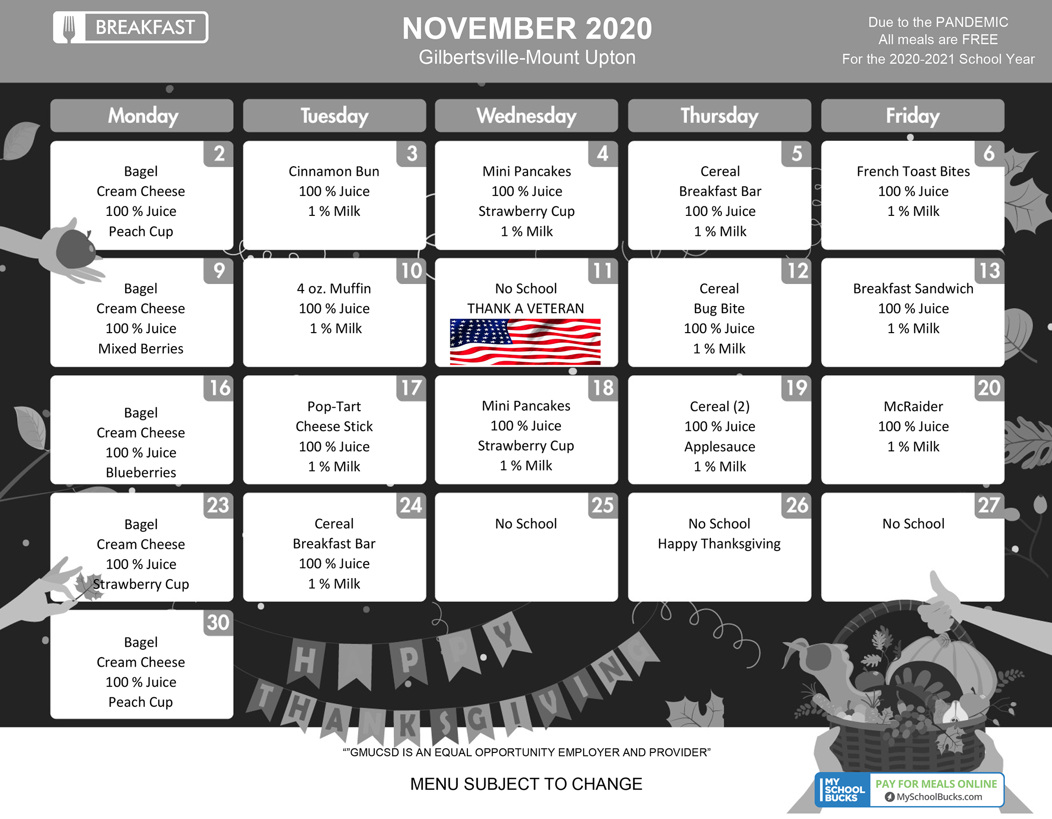 GMU Breakfast Menu - November 2020