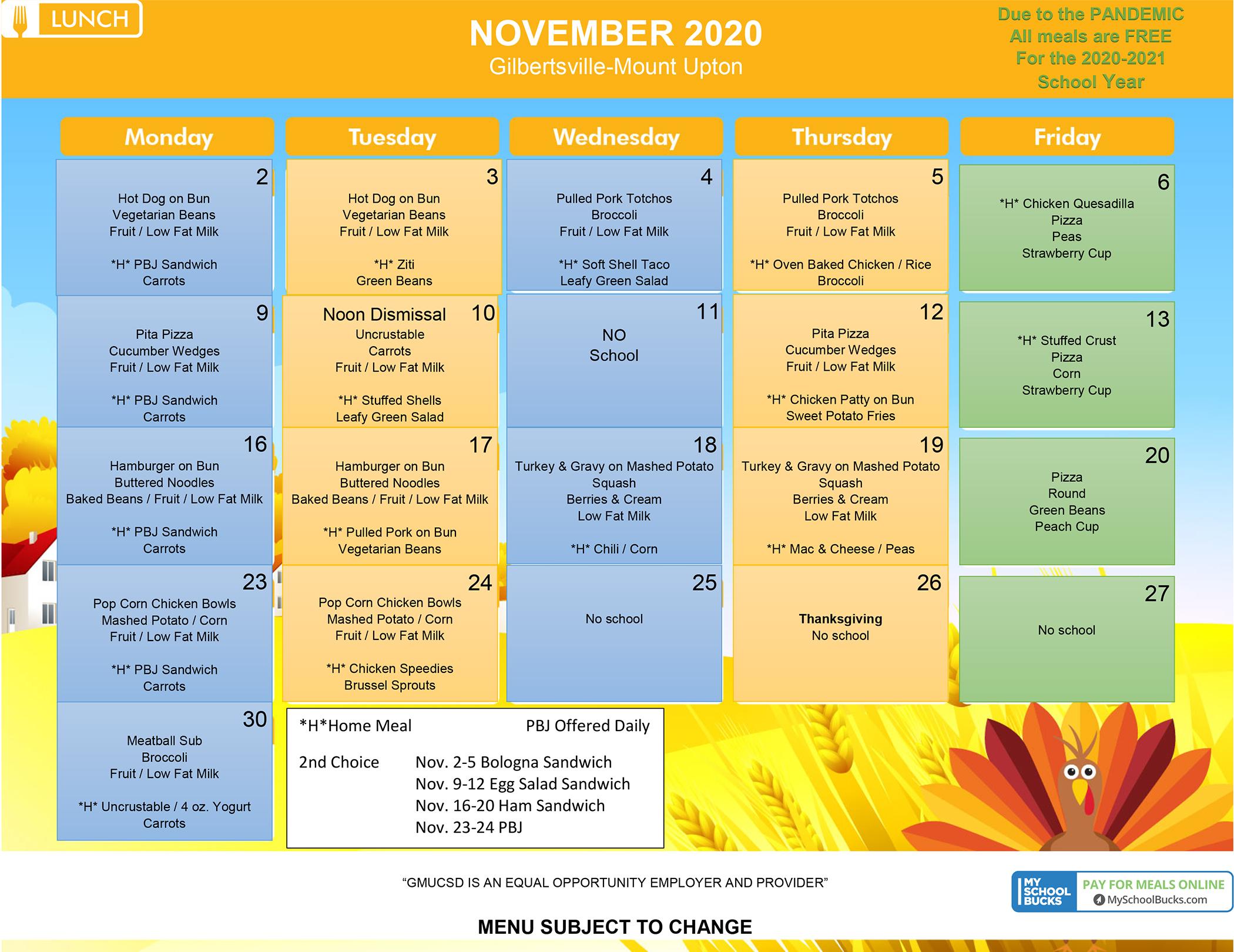 GMU Lunch Menu - November 2020