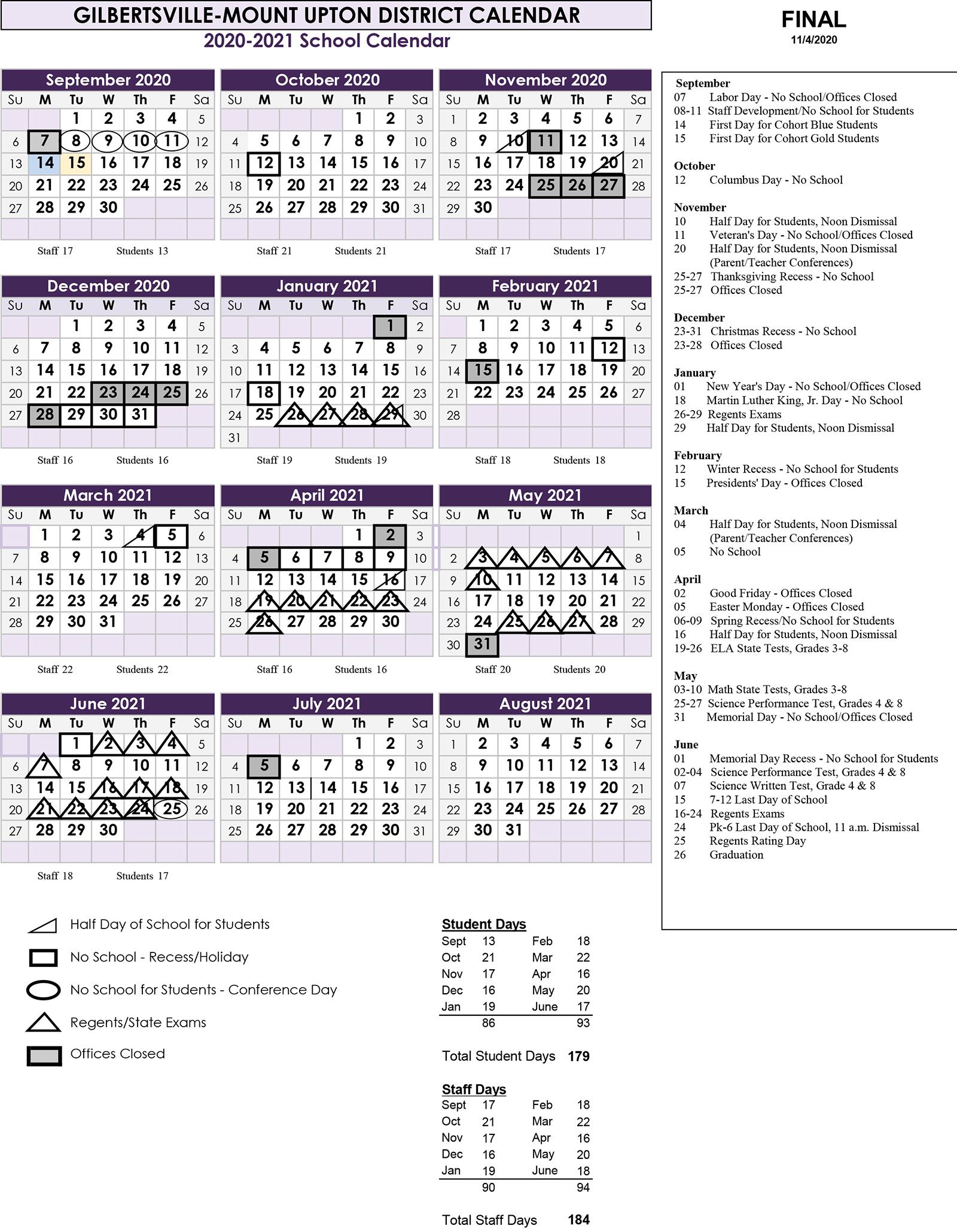 Calendar Overview 2020-2021
