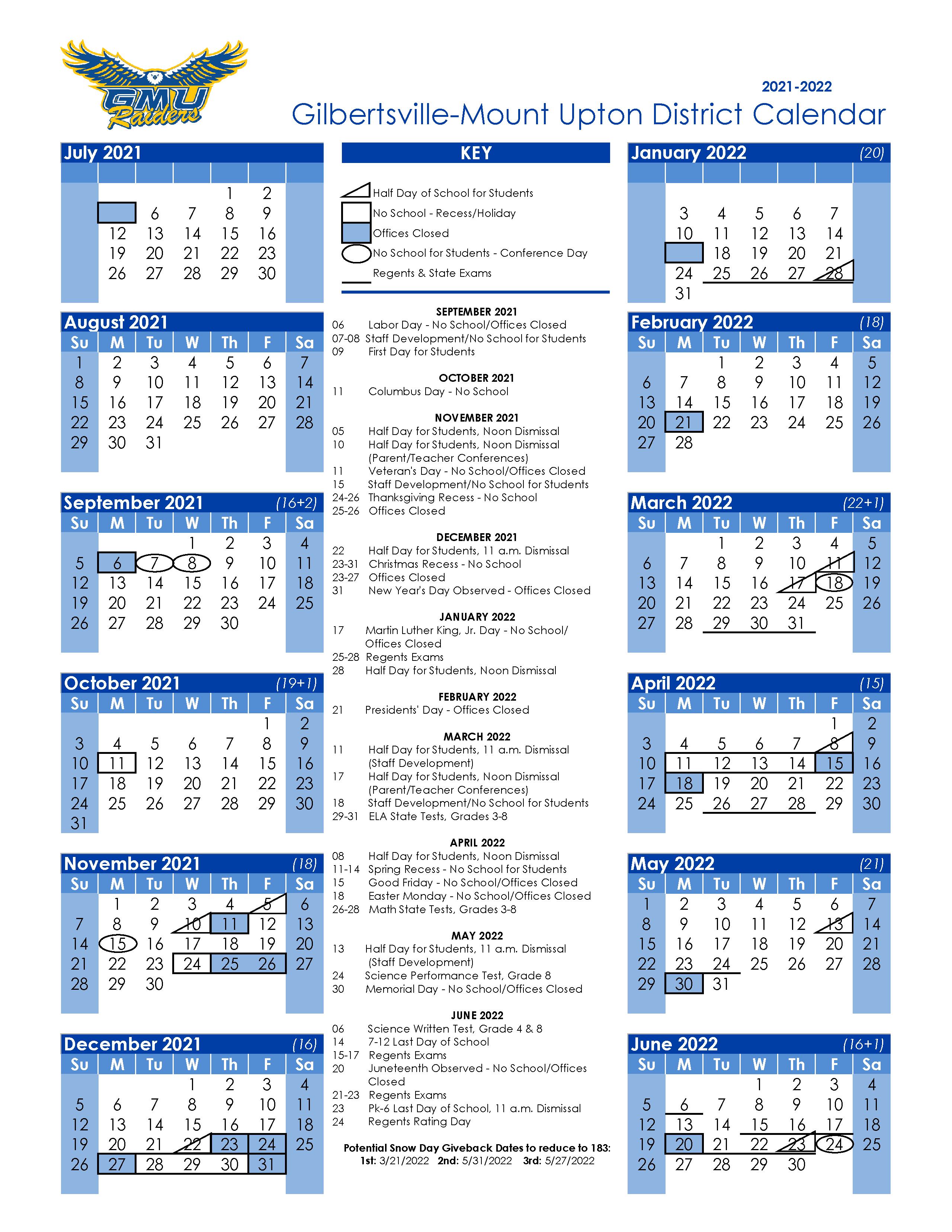 Image of the 2021 - 2022 School Year Calendar