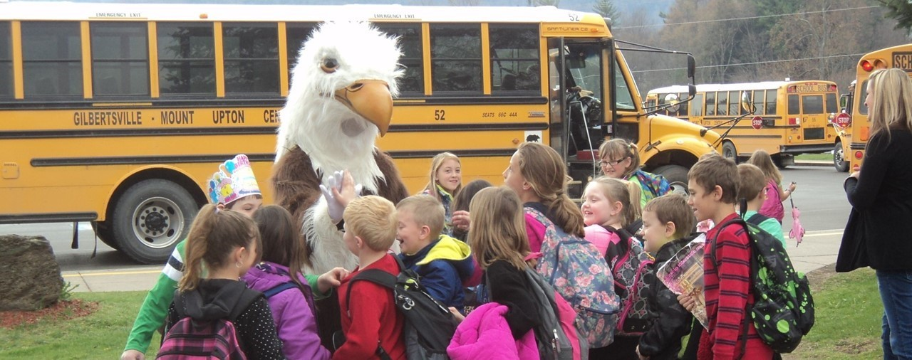 Children with School Mascot