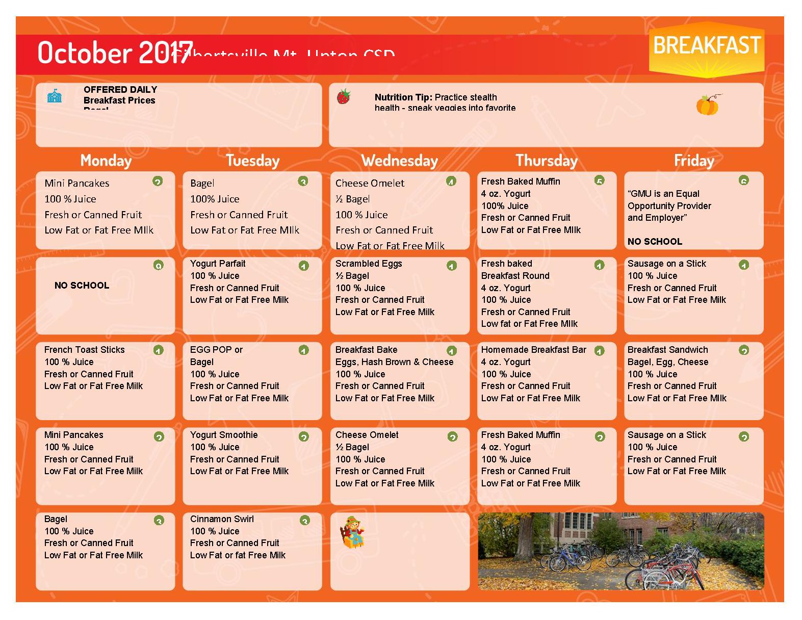 October 2017 Breakfast Menu