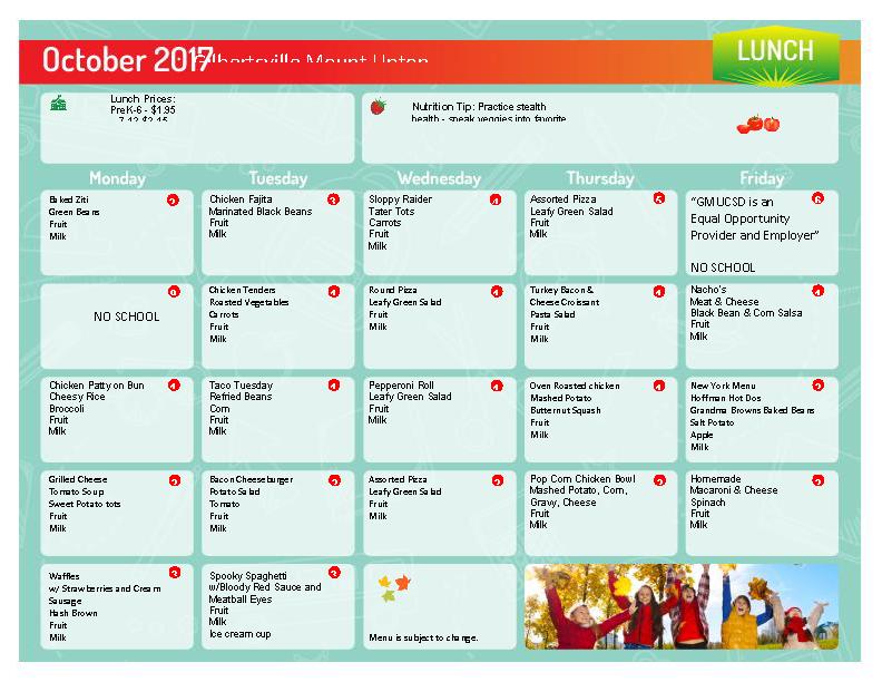 October 2017 Lunch Menu