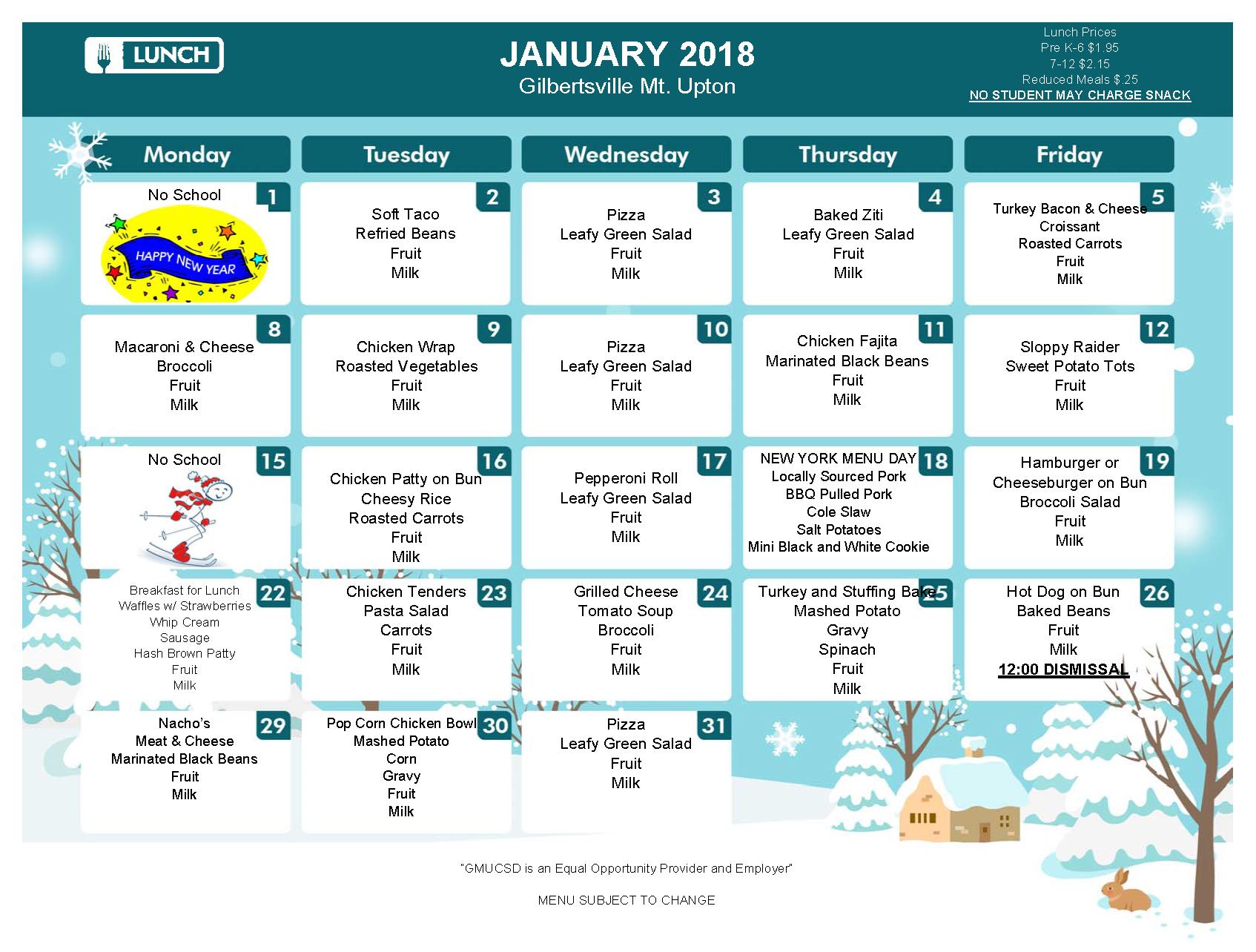 January 2018 Lunch Menu