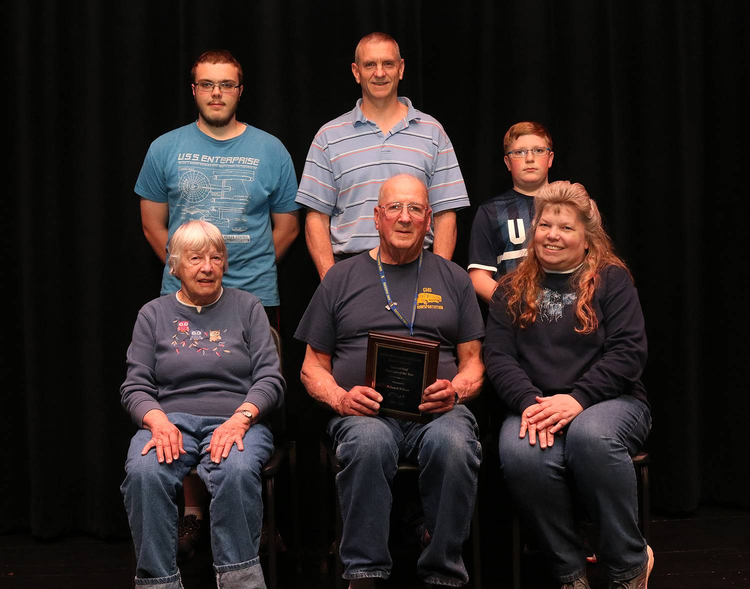 Staff member of the year with family