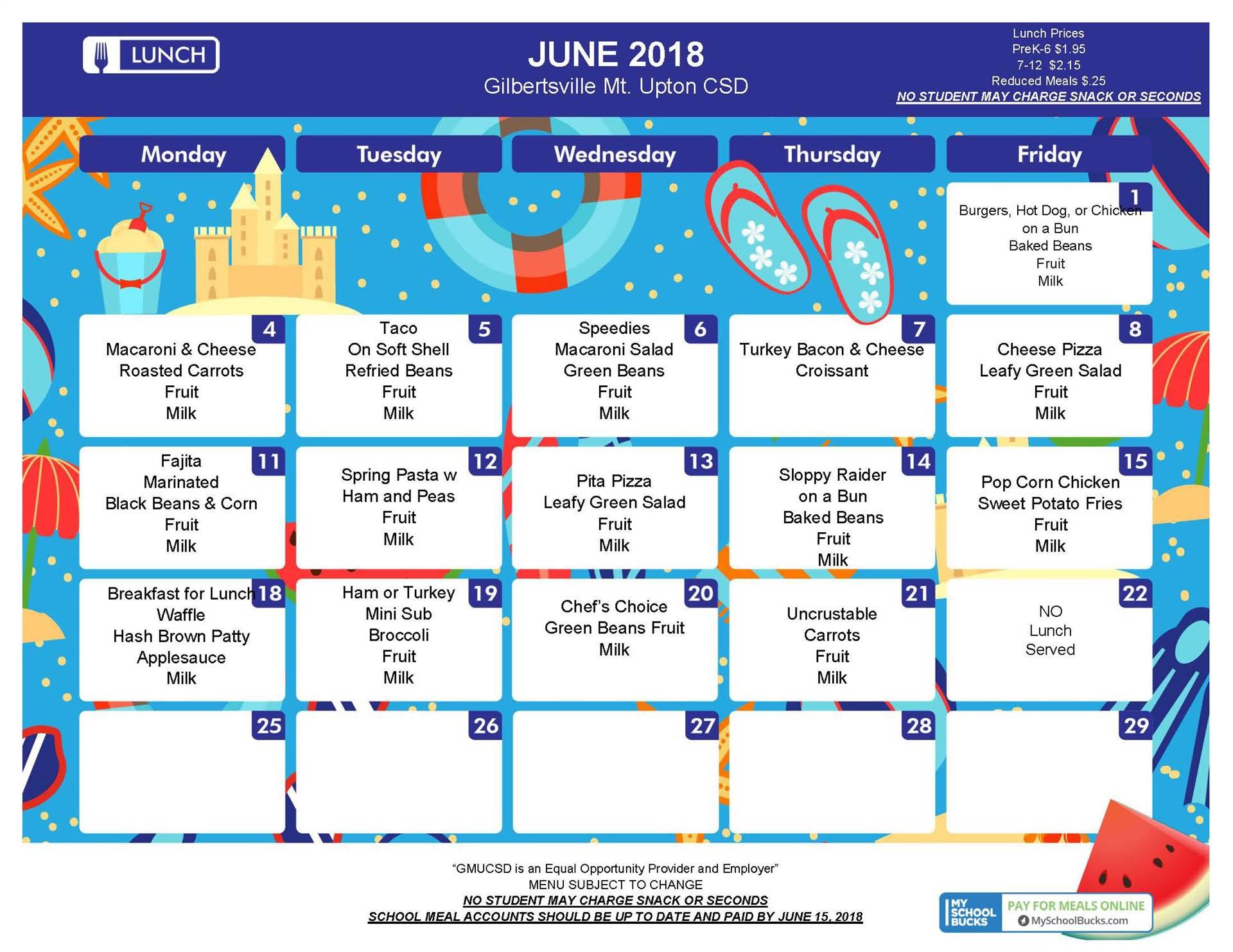 June 2018 Lunch Menu