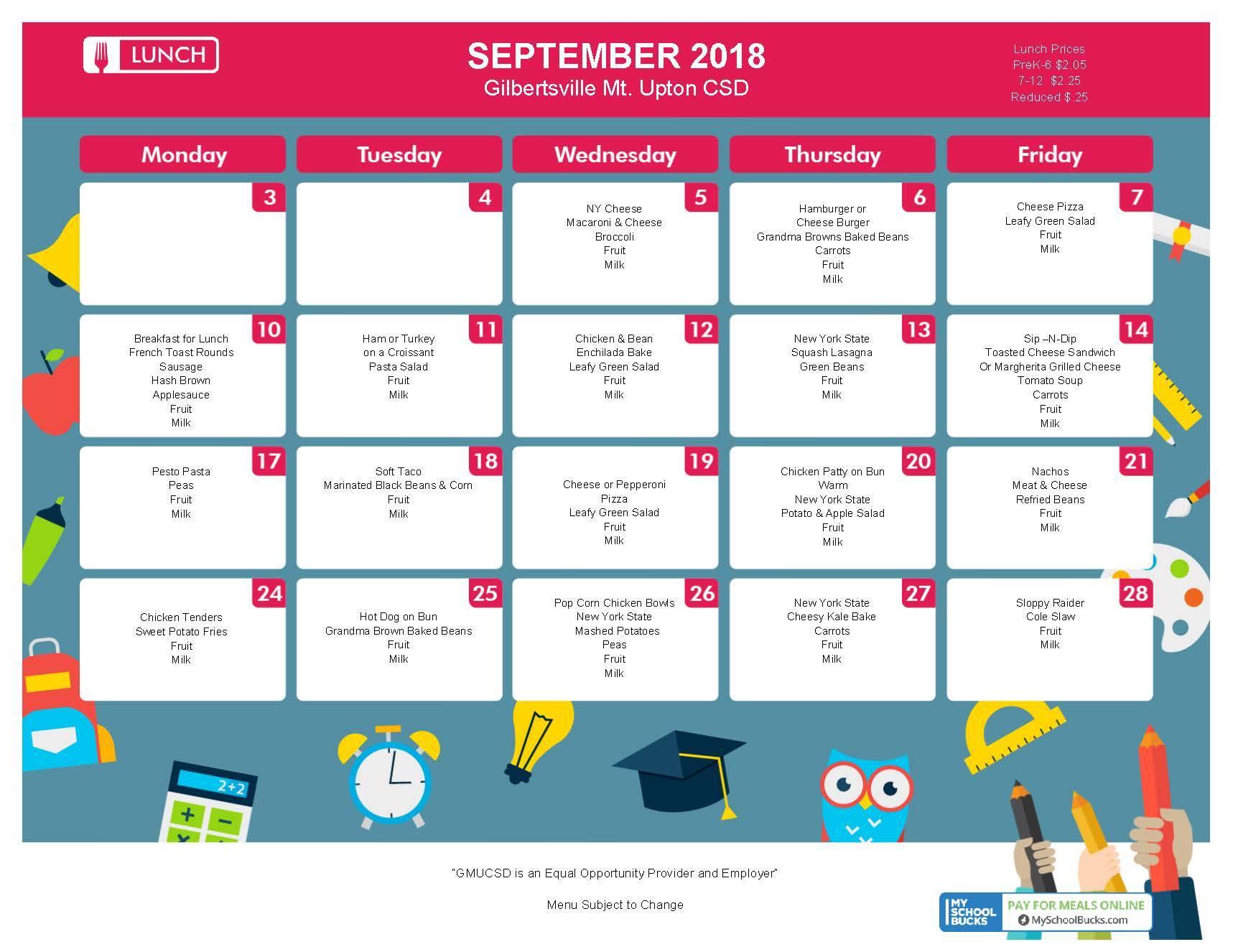 September Lunch Menu 2018
