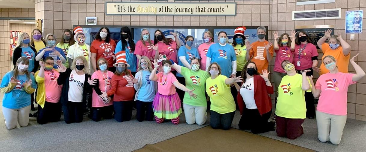 Teachers in Seuss costumes group (3/2021)