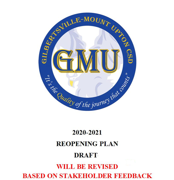 Cover sheet of the Gilbertsville - Mount Upton Central School Reopening Plan for 2020 - 2021